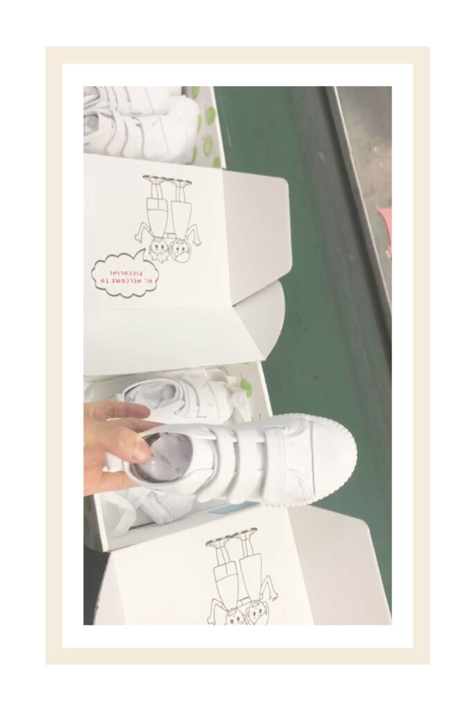 piccolini white sneakers passing all high quality checks at the factory